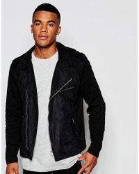 ASOS Jersey Biker Jacket With Faux Suede - Black