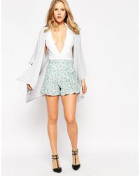 Love - Culotte Shorts In Ditsy Floral Print - Lyst