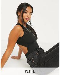 Miss Selfridge Cross Back Bodysuit - Black