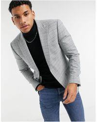 TOPMAN Check Skinny Suit Jacket - Grey