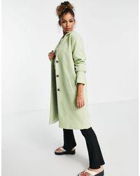 Pieces Alice Wool Blend Coat - Green