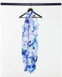 Lipsy Halterneck Midi Dress - Blue