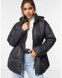 Vero Moda Padded Jacket With Drawstring Waist - Black
