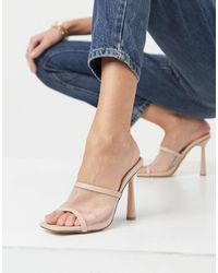 Truffle Collection Stiletto Heeled Mule With High Vamp - Blue