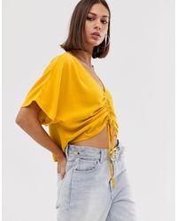 Bershka Блузка Горчичного Цвета Со Сборками Спереди -желтый