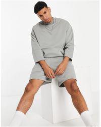 ASOS Co-ord Heavyweight Oversized Three Quarter Sleeve Sweatshirt - Gray