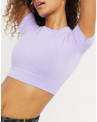 Chi Chi London Kellie Cropped Gym Top Co-ord - Purple