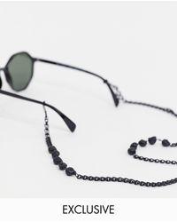 Reclaimed (vintage) Черные Матовые Солнцезащитные Очки С Цепочкой И Черепами -черный - Многоцветный