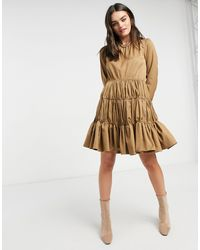 Y.A.S Mini Dress With Gathered Tiering - Natural