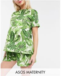 ASOS - Camiseta de pijama verde con estampado de palmeras Mix & Match de ASOS DESIGN Maternity - Lyst