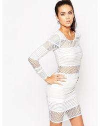 Wow Couture Mesh Insert Bandage Mini Dress - White