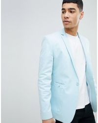 ASOS - Super Skinny Blazer In Light Blue Cotton - Lyst