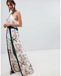 StyleStalker - Aries Floral Print Maxi Dress With Splits - Lyst