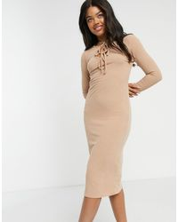 New Look Tie Front Ribbed Midi Dress - Natural