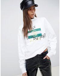 Miss Sixty - Slogan High Neck Sweatshirt - Lyst