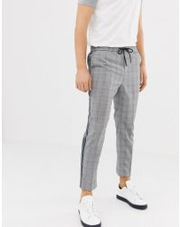New Look Slim Fit Smart joggers With Side Stripe In Grey Check