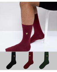 Lyle & Scott - 3 Pack Plain Socks In Green/burgundy/black - Lyst
