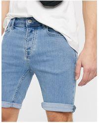 TOPMAN Skinny Denim Shorts - Blue
