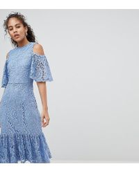 Y.A.S - Lace Cold Shoulder Midi Dress - Lyst