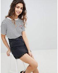 Miss Selfridge - Lace Trim Denim Mini Skirt - Lyst
