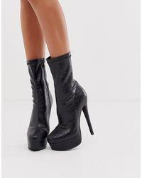 SIMMI Shoes Simmi London - Scandal - Stivali nero coccodrillo con plateau