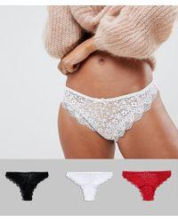 ASOS 3 Pack Lace Brazilian Trousers - Multicolour