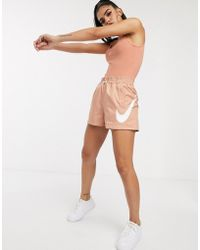 Nike High Waisted Rose Gold Woven Shorts - Metallic