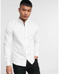 ASOS Premium Slim-fit Satijnen Overhemd Met Chinese Boord - Wit