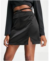 UNIQUE21 Waist Detail Mini Skirt With Split - Black