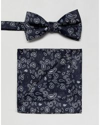SELECTED - Bow Tie And Pocket Square Set In Navy Paisley - Lyst