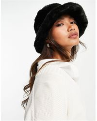 ASOS Faux Fur Roll Back Bucket Hat - Black