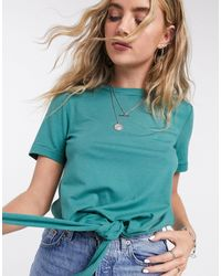 Object Stephanie Tie Front Jersey T-shirt - Blue
