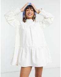ASOS Denim Pie Crust Smock Dress With Puff Sleeves - White