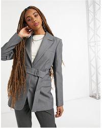 TOPSHOP Belted Blazer - Grey