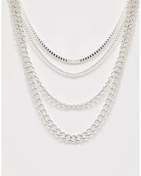 ASOS - Серебристое Ярусное Ожерелье - Lyst