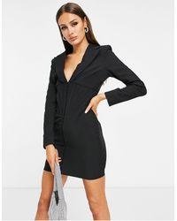 Lavish Alice Corset Detail Blazer Dress - Black