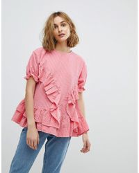 Lost Ink - Smock Top With Frill Detail - Lyst