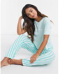 In The Style Пижама Зеленого Цвета С Брюками В Полоску X Billie Faiers-зеленый