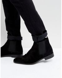 Dune - Chelsea Boots In Black Suede - Lyst