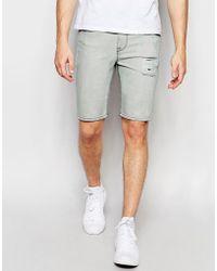 ASOS - Super Skinny Denim Shorts In Light Gray With Spray Coating - Lyst