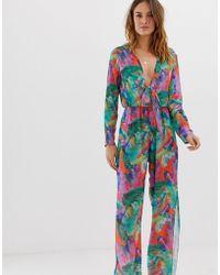 bc293d7ffcc UNIQUE21 - Jungle Leaf Print Beach Jumpsuit - Lyst