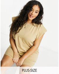 NaaNaa Plus Padded Shoulder T-shirt Dress - Multicolour
