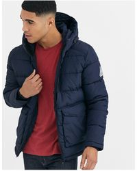 Jack & Jones Originals Hooded Puffer Jacket With Patch Pockets - Blue