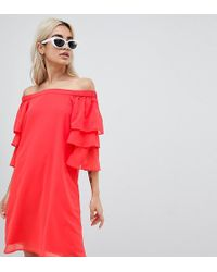 Vero Moda - Off Shoulder Dress With Tiered Sleeve - Lyst