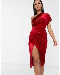 ASOS Бархатное Платье Миди С Запахом На Одно Плечо - Красный