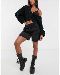 Vila Drawstring Casual Shorts - Black