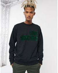 Love Moschino - Зеленый Свитшот С Круглым Вырезом И Логотипом -черный - Lyst