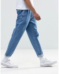 ASOS - Double Pleat Straight Leg Jean In Light Blue - Lyst