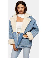 TOPSHOP Синяя Джинсовая Куртка С Подкладкой Из Искусственного Меха -коричневый Цвет - Синий