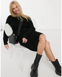 Glamorous Scoop Back Knitted Jumper Dress With Lace Trim - Black